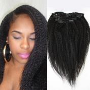 Foxys' Hair Brazilian Virgin Hair Kinky Straight Clip In Hair Extension Weave 7 Piece/Set Coarse Yaki Straight Clip In Human Hair Extensions 100g/set 36cm