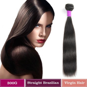 FeiBin 60cm Inch 1 Bundle Brazilian Virgin Hair Straight 100% Unprocessed Human Hair Natual Black Colour 100g Total