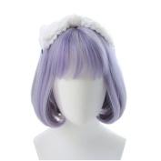 DAYISS Purple Grey Bob Wig Short Straight Harajuku Neat Bang Costume Party Hair