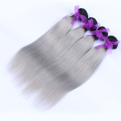 Carina Hair 7A Ombre T1B/Grey Human Hair Brazilian Body Wave Hair Extensions
