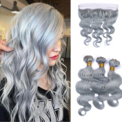 Tony Beauty Hair Brazilian Virgin Human Hair Bundles With Lace Frontal Closure 4Pcs/Lot Pure Colour Sliver Grey Hair Bundles With 134 Ear To Ear Lace Frontal