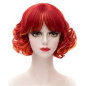 DAYISS Red Harajuku Neat Bang Wig Short Wavy Curly Cosplay Halloween Party Hair
