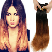 36cm ,41cm ,46cm Two Tone Ombre 100% Human Virgin Remy Hair Extension Weave Coloured Silky Natural Straight Black to Reddish Brown Blonde 1B/#30 hair Weft 3 bundles