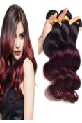 41cm ,46cm ,50cm Two Tone Ombre 100% Human Virgin Remy Hair Extension Weave Coloured Silky Body Wave Black to Red Wine 1B/#99J hair Weft 3 bundles