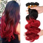 36cm ,41cm ,46cm Two Tone Ombre 100% Human Virgin Remy Hair Extension Weave Coloured Silky Body Wave Black to Red hair Weft 3 bundles