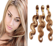 36cm ,41cm ,46cm Mixing Coloured 100% Human Virgin Remy Hair Extension Weave Silky Body Wave Medium Brown mix with Bleach Blonde #p8/613 hair Weft 3 bundles