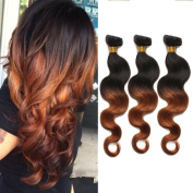 41cm ,46cm ,50cm Two Tone Ombre 100% Human Virgin Remy Hair Extension Weave Coloured Silky Body Wave Black to Reddish Brown Blonde 1B/#30 hair Weft 3 bundles