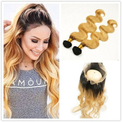 Stella Reina Dark Roots Honey Blonde 360 Lace Frontal Closure with 2 Bundles of Ombre Colour 1B/27 Brazilian Body Wave Sew In Hair Weaves Human Remy Hair Extensions