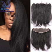 33cm x 10cm Full Lace Frontal Closure Ear To Ear Free Part Unprocessed Brazilian Virgin Hair Kinky Straight Top Lace Front Closures With Baby Hair Bleached Knots Natural Colour