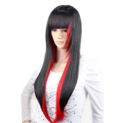 DAYISS Halloween Black Red Mix Women Wig Long Wavy Curly Gradient Harajuku Hair