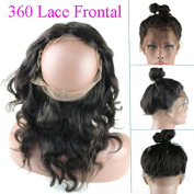 Uneed hair 360 Lace Frontal Closure with Ajust Strap 22.5×4×5.1cm 8A Brazilian Body Wave VirginHair Full Frontal Lace Closure with Baby Hair Natural Colour 25cm