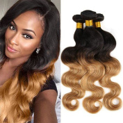 """Top Hair Virgin Remy Brazilian Hair 3 Bundles 14""""16""""18"""" With Ombre Black To Blonde Extensions And Ombre Two Tones Blonde Hair 1b/27 3 Bundles 100g/Bundle"""