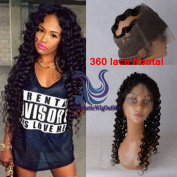 Brazilian Virgin Human Hair Deep Curly 360 Lace Frontal Closure With Baby Hair