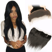 QTHAIR 8A Three Part Ear To Ear 33cm x 10cm Full Frontal Lace Closure 36cm Bleached Knots With Baby Hair Unprocessed Brazilian Straight Hair Real Human Hair Front Closures