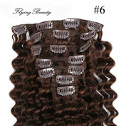 Deep Curl Deep Wave Brown Brazilian Clip in Hair Extensions 100% Remy Human Hair 20 Inches(50cm) 80g 7pcs/set, Colour