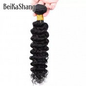 Beikashang Deep Wave Peruvian Virgin Human Hair Extensions 1 Bundle Hair 7a Natural Black 60cm