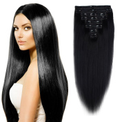 FIRSTLIKE 41cm Jet Black Grade 7A 100% Clip In Real Remy Human Hair Extensions Unprocessed True Double Weft Full Head Soft Straight 8 Pieces With 18 Clips Attached