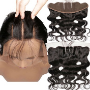 46cm Brazilian Lace Frontal Closure Human Hair Body Wave 13x 4 3 Part No Bleached Knots with Baby Hair