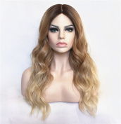 StrongBeauty Top Quality Synthetic Kanekalon Long Wavy Hair Wig Gradient Blonde Brown Mixed
