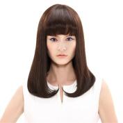 Drasawee Women's 36cm Brown Smooth Long Straight Real Human Hair Fringe Bangs Mono Net Wigs Hairpiece