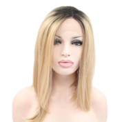 Besgo 60cm long Wave Curly Black to Light Brown Wig for Women Daily Costume Party Cosplay with Wig Cap