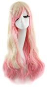 BeneU Multi-Colour Cosplay Party Hair Wig 60cm Long Hair Heat Resistant Spiral Curly Wave Costume Anime Lolita Glamour Gradient Colour Hairs for Women