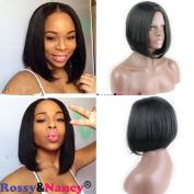 Rossy & Nancy Short straight Heat Resistant Synthetic Bob Natural Black Hair Cosplay Party Wig for Black Women