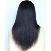 VVHair Yaki Straight 150% Thickness Density Malaysian Virgin Natural Black Lace Front Wigs Human Hair For African American Women 41cm Medium Cap Size