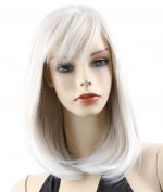 ATOZHair Nature White Long Straight Synthetic Wig with Side Bangs for Christmas Party