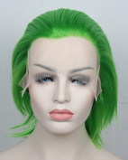 Heat Resistant Fibre Short Straight Green None Bangs Lace Front Party Wigs Cosplay Wig