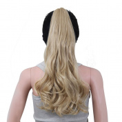 Ovonni Claw Clip Long Ponytail Curly Hair Synthetic High Temperature Fibre For Women 46cm Blonde