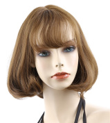 ATOZHair Light Brown Short Pear Flower Synthetic Straight Wig with Neat Bangs for Girls