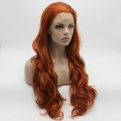 Lushy Cheap Wavy Long Blonde Red Mix Colour Wigs Full Density Half Hand Tied Heat Friendly Synthetic Hair Lace Front Women Natural Wigs