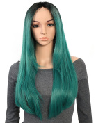 OneDor 60cm Straight Kanekalon Premium Synthetic Lace Front Dark Roots with Teal Two Tones Ombre Hair Wig For Women