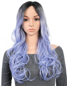 OneDor 60cm Curly Kanekalon Premium Synthetic Lace Front Dark Roots with Lavender Two Tones Ombre Hair Wig For Women