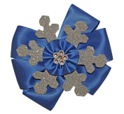 WD2U Girls Sparkling Silver & Blue Winter Snowflake Hair Bow French Clip USA