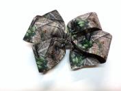Girls Tan Brown Green Camouflage Hair Bow Teen Camo Hair Accessory