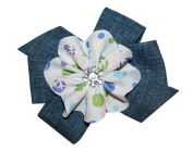 WD2U Girls Country Christmas Denim Snowflake Boutique Hair Bow Alligator Clip US