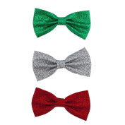 Lux Accessories Christmas Xmas Red Green Silver Glitter Bow Hair Clips 3pc