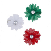 Lux Accessories Christmas Red White Green Flower Hair Clips 3pc
