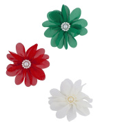 Lux Accessories Christmas Red White Green pearl Crystal Flower Hair Clips