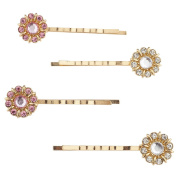 Lux Accessories Gold Tone Pink Clear Rhinestone Flower Hair Barrette Pin Set 4pc