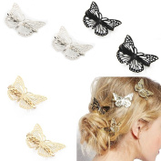 Fireboomoon Pack of 6 Hollow Metal Butterfly Hair Clip Clamps Hairpin Hair Accessories (Gold, Sliver, Black)