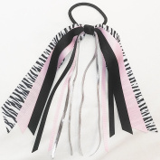 Streamer 7 Hair Bow, Made in the USA, French Clip, Zebra, Light Pink,Black,Metallic Silver