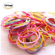 Fireboomoon 120 Count Elastic Hair Ties, No Metal Gentle Elastics,Assorted Colours