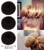 Fireboomoon 3Pcs Extra-large Size Hair Donut Bun Ring Styler Maker (Brown)