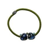 Tamarusan Marble Pattern Hair Elastic Blue Barrette Heart Rhinestone Handmade Nickel Free