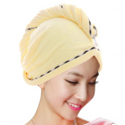 Jack & Rose Microfiber Hair Towel Premium Hair Drying Towel Super Absorbent for Different Hairstyles 23.5 * 25cm Yellow