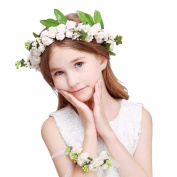AWAYTR Flower Crown Headbands Floral Garland Halo With Wrist Band Wedding Party Women Girl Hair Accessories