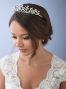 USABride Wedding Tiara Crown Crystal & Rhinestone Floral Leaf Bridal Headpiece 3279